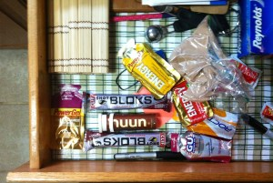 My nutrition drawer.  In addition to aluminum foil and ketchup packets (don't judge me, we all collect those), I've got Nuun, Clif Shot Blocks, gels, and some unidentified protein powder.