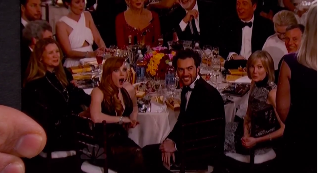 via Jezebel - Jessica Chastain's reaction to a shot fired at Bill Cosby at the Golden Globes.